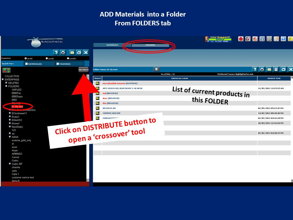 List of current products in this FOLDER Click on DISTRIBUTE button to open a 'crossover' tool ADD Materials into a Folder From FOLDERS tab