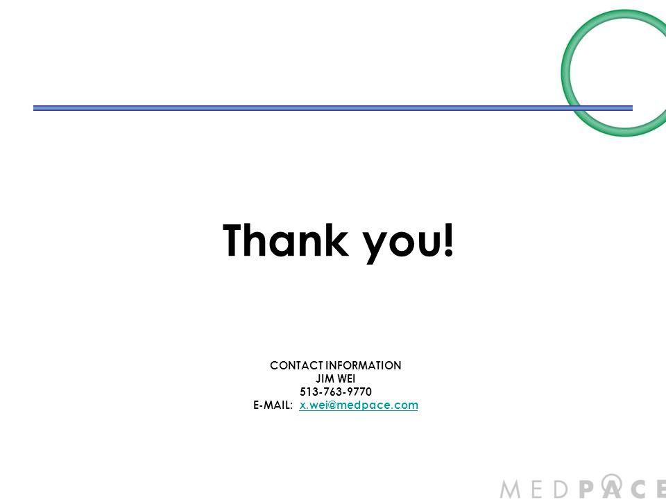 CONTACT INFORMATION JIM WEI 513-763-9770 E-MAIL: x.wei@medpace.comx.wei@medpace.com Thank you!