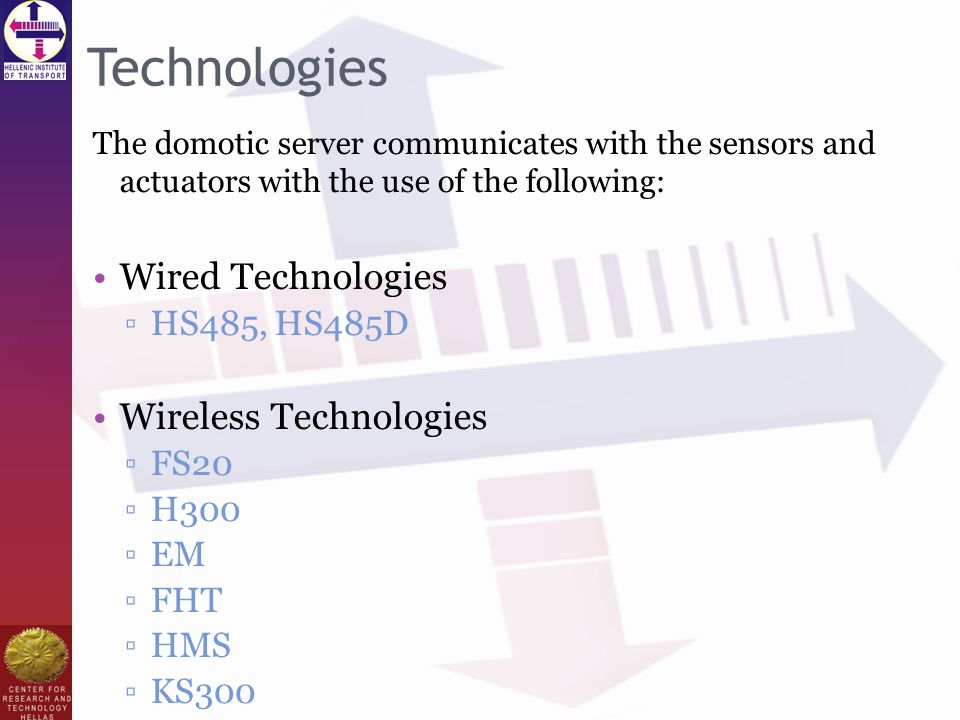 Technologies The domotic server communicates with the sensors and actuators with the use of the following: Wired Technologies ▫HS485, HS485D Wireless Technologies ▫FS20 ▫H300 ▫EM ▫FHT ▫HMS ▫KS300