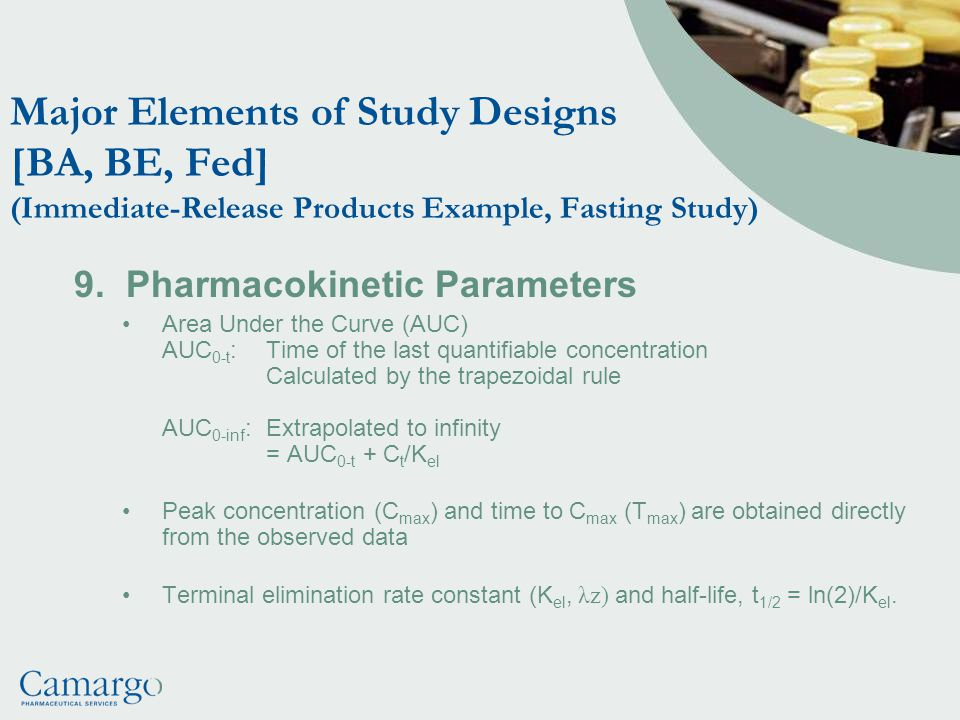 Major Elements of Study Designs [BA, BE, Fed] (Immediate-Release Products Example, Fasting Study) 9.