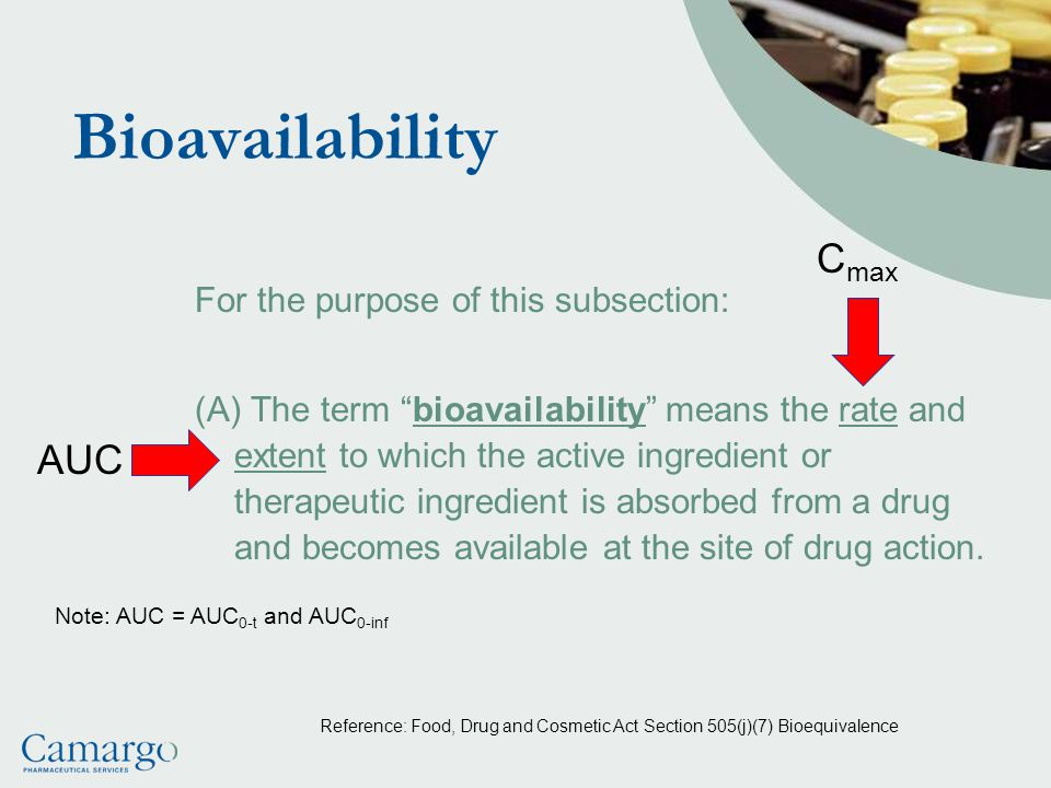 Bioavailability For the purpose of this subsection: (A) The term bioavailability means the rate and extent to which the active ingredient or therapeutic ingredient is absorbed from a drug and becomes available at the site of drug action.