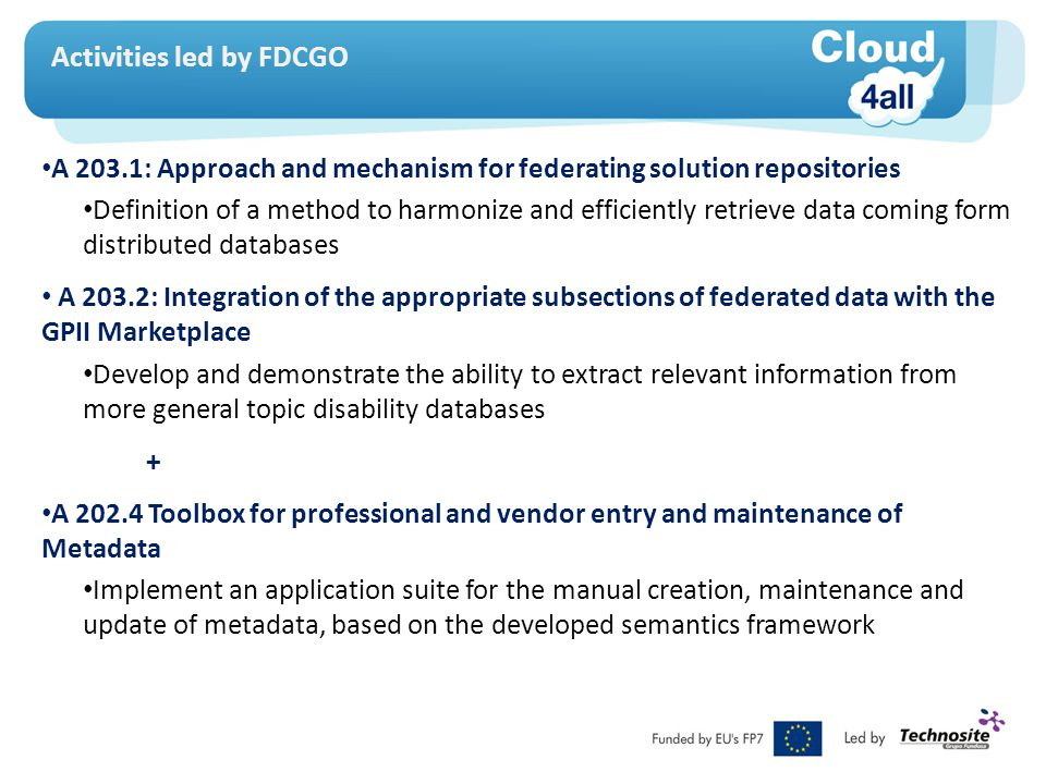 Activities led by FDCGO A 203.1: Approach and mechanism for federating solution repositories Definition of a method to harmonize and efficiently retrieve data coming form distributed databases A 203.2: Integration of the appropriate subsections of federated data with the GPII Marketplace Develop and demonstrate the ability to extract relevant information from more general topic disability databases + A 202.4 Toolbox for professional and vendor entry and maintenance of Metadata Implement an application suite for the manual creation, maintenance and update of metadata, based on the developed semantics framework
