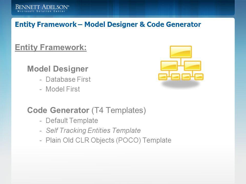 Entity Framework – Model Designer & Code Generator Entity Framework: Model Designer -Database First -Model First Code Generator (T4 Templates) -Default Template -Self Tracking Entities Template -Plain Old CLR Objects (POCO) Template