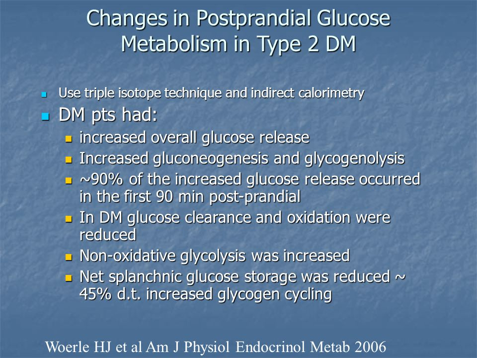 Changes in Postprandial Glucose Metabolism in Type 2 DM Use triple isotope technique and indirect calorimetry Use triple isotope technique and indirec