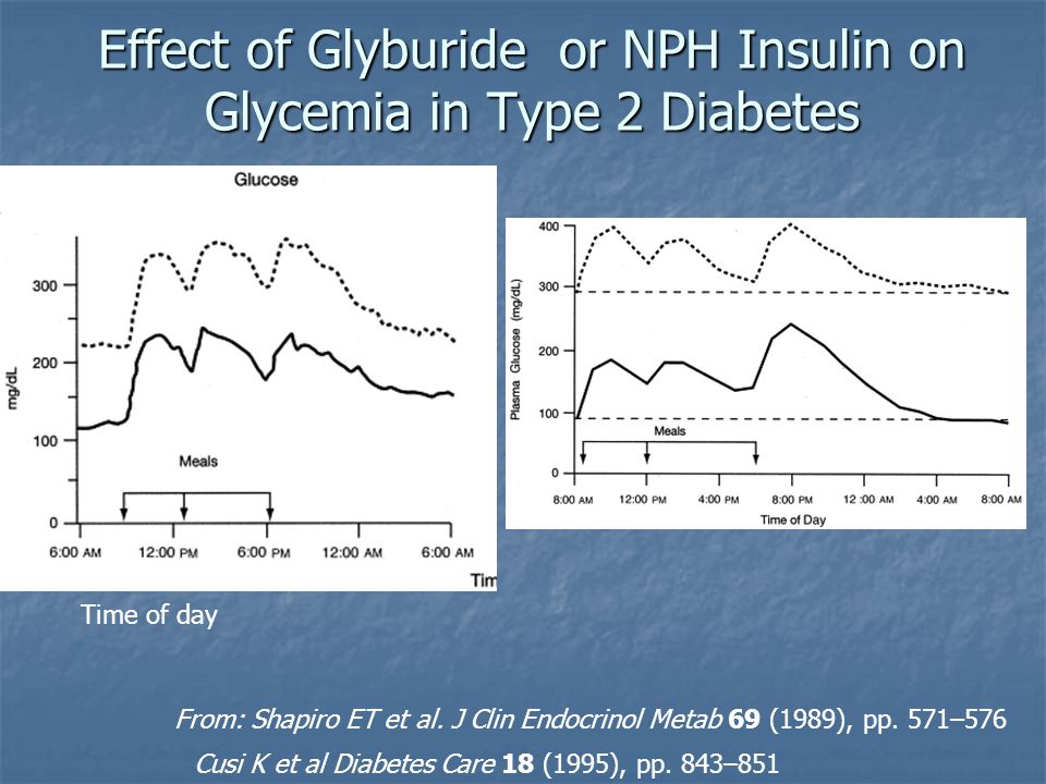Effect of Glyburide or NPH Insulin on Glycemia in Type 2 Diabetes Time of day From: Shapiro ET et al. J Clin Endocrinol Metab 69 (1989), pp. 571–576 C