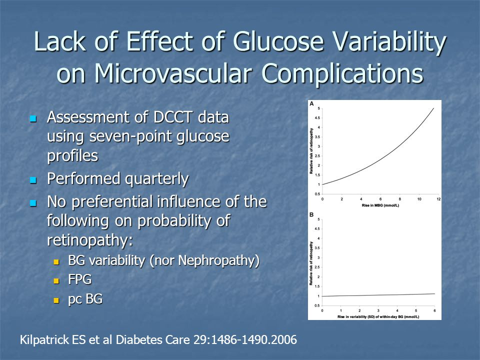 Lack of Effect of Glucose Variability on Microvascular Complications Assessment of DCCT data using seven-point glucose profiles Assessment of DCCT dat