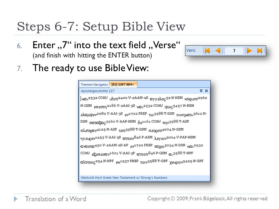 Steps 1-5: Setup Bible View 1.