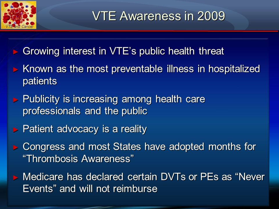VTE and Cancer VTE Awareness in 2009 ► Growing interest in VTE's public health threat ► Known as the most preventable illness in hospitalized patients