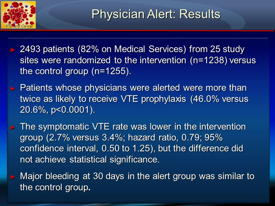 VTE and Cancer Physician Alert: Results ► 2493 patients (82% on Medical Services) from 25 study sites were randomized to the intervention (n=1238) ver