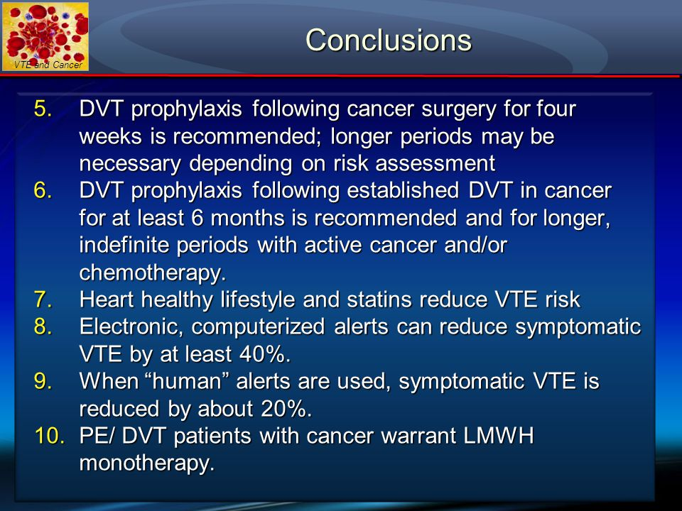 VTE and Cancer Conclusions 5.DVT prophylaxis following cancer surgery for four weeks is recommended; longer periods may be necessary depending on risk