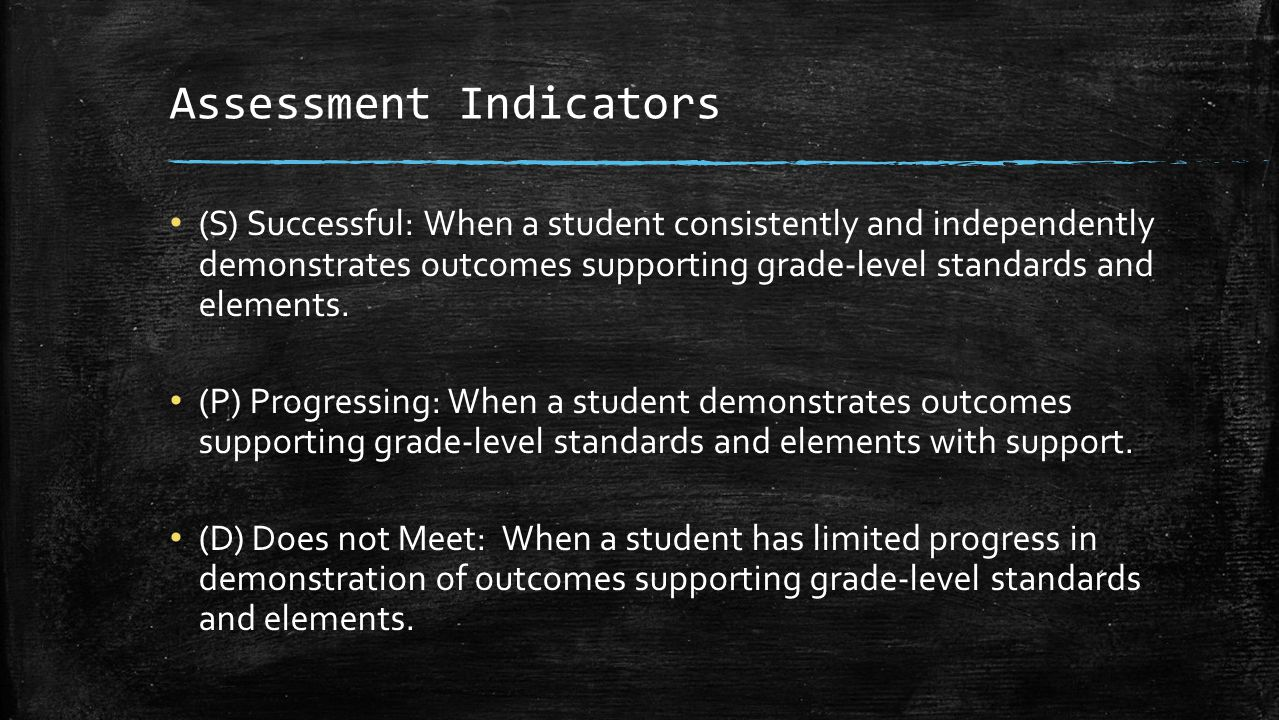 Assessment Indicators (S) Successful: When a student consistently and independently demonstrates outcomes supporting grade-level standards and elements.