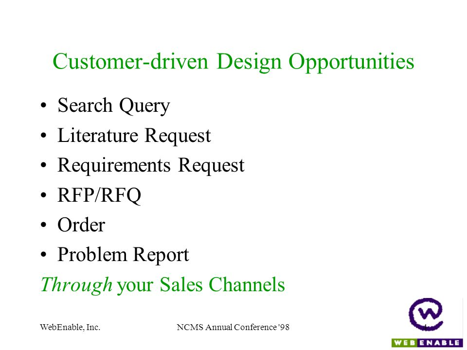 WebEnable, Inc.NCMS Annual Conference 984 Customer-driven Design Opportunities Search Query Literature Request Requirements Request RFP/RFQ Order Problem Report Through your Sales Channels