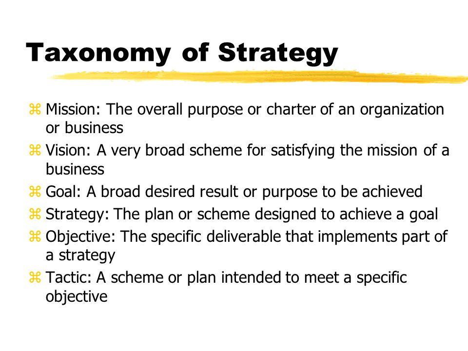 Taxonomy of Strategy zMission: The overall purpose or charter of an organization or business zVision: A very broad scheme for satisfying the mission of a business zGoal: A broad desired result or purpose to be achieved zStrategy: The plan or scheme designed to achieve a goal zObjective: The specific deliverable that implements part of a strategy zTactic: A scheme or plan intended to meet a specific objective