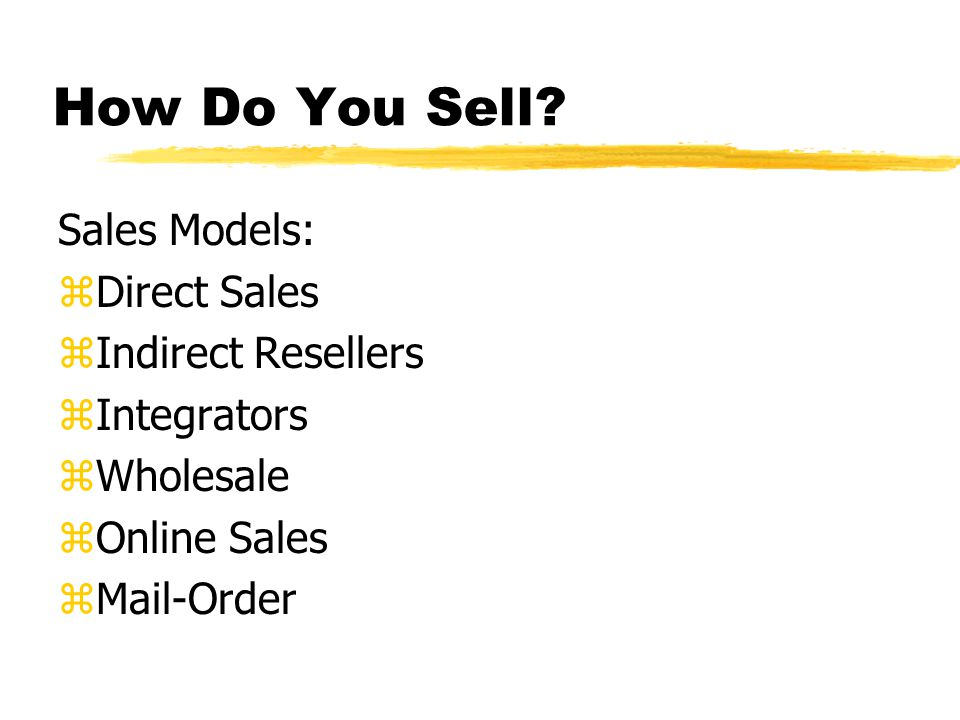 How Do You Sell.