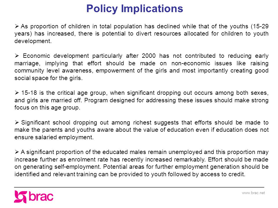 www.brac.net Policy Implications  As proportion of children in total population has declined while that of the youths (15-29 years) has increased, th
