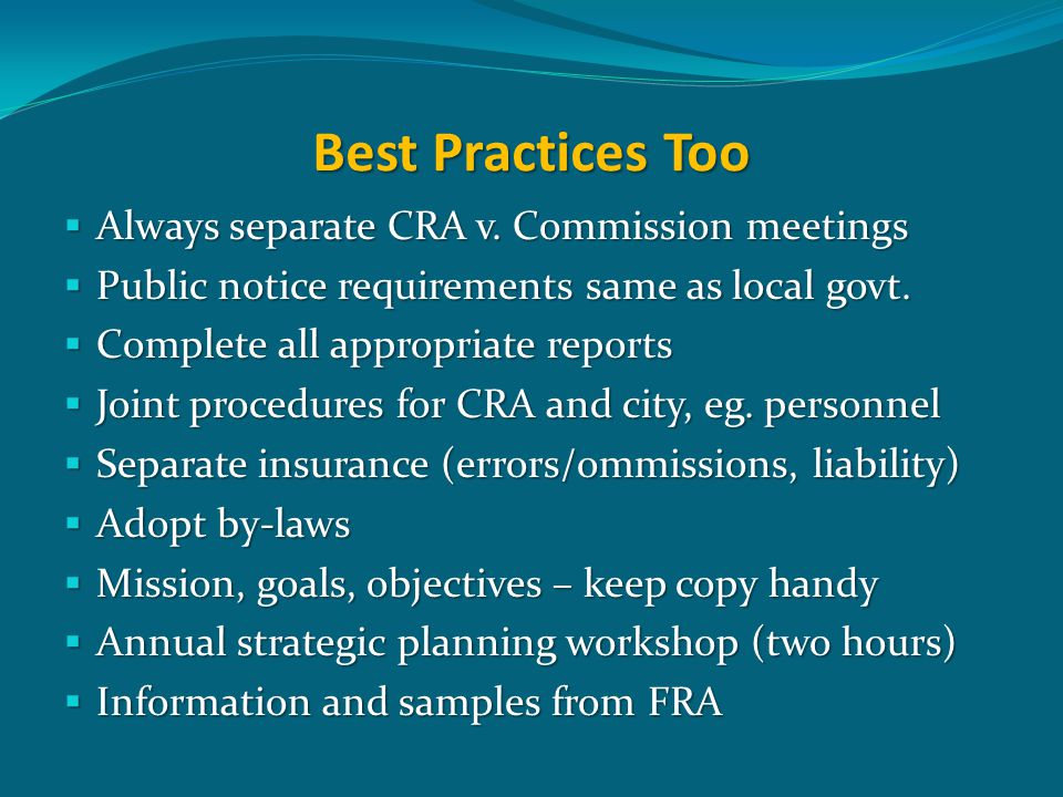 Best Practices Too  Always separate CRA v.