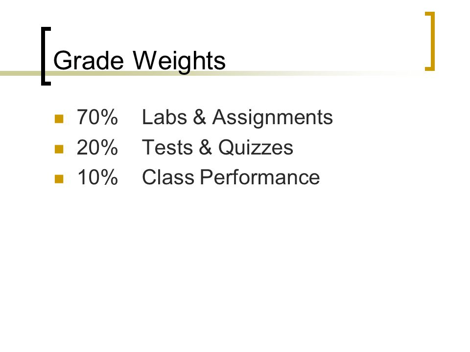 Grade Weights 70% Labs & Assignments 20% Tests & Quizzes 10% Class Performance
