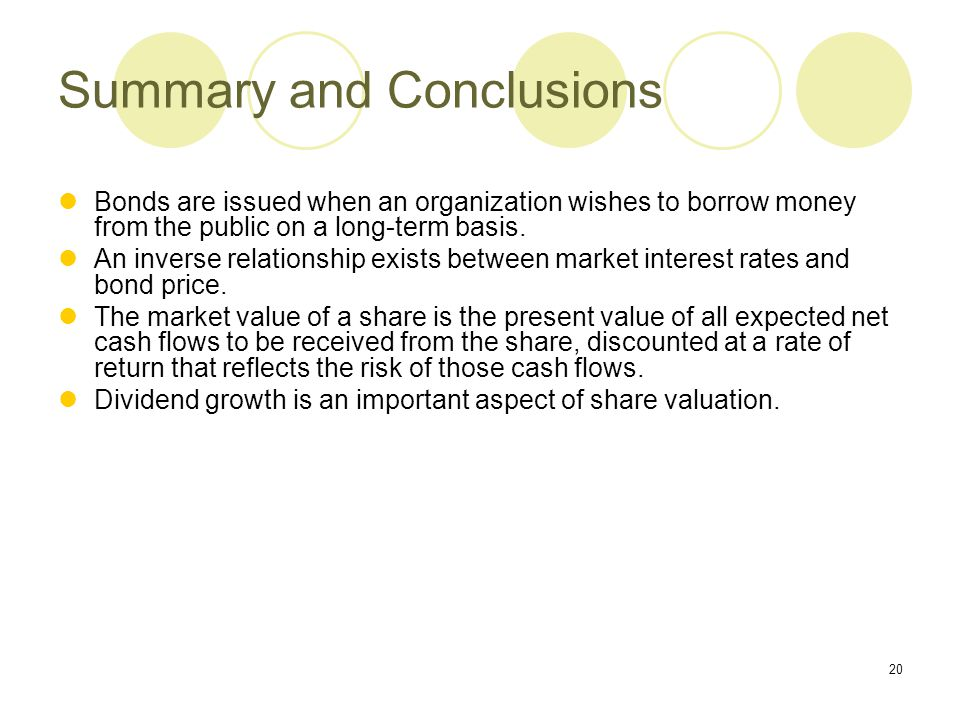 20 Summary and Conclusions Bonds are issued when an organization wishes to borrow money from the public on a long-term basis. An inverse relationship