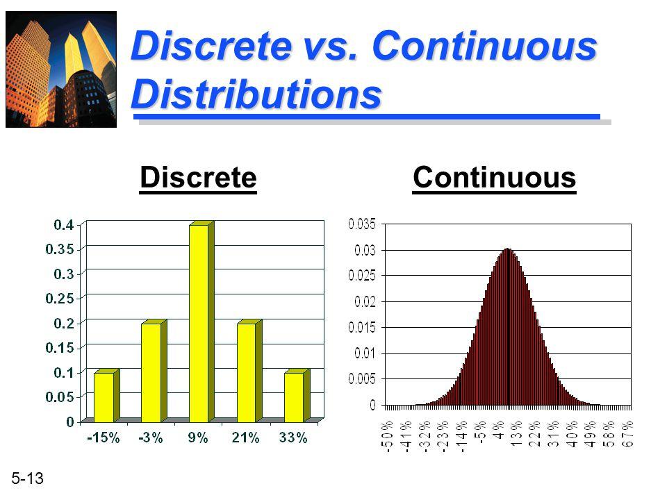 5-13 Discrete vs. Continuous Distributions Discrete Continuous