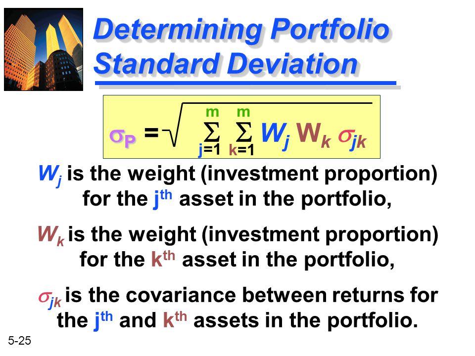 5-25 Determining Portfolio Standard Deviation m j=1 m k=1  P  P =  W j W k  jk W j is the weight (investment proportion) for the j th asset in