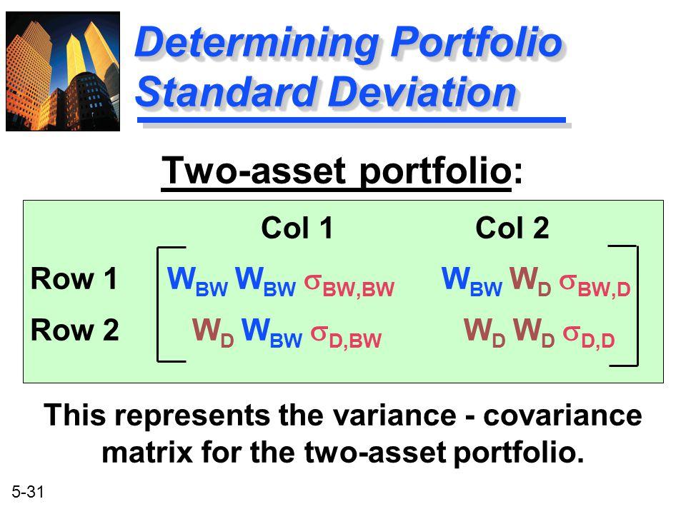 5-31 Two-asset portfolio: Col 1 Col 2 Row 1W BW W BW  BW,BW W BW W D  BW,D Row 2 W D W BW  D,BW W D W D  D,D This represents the variance - covari