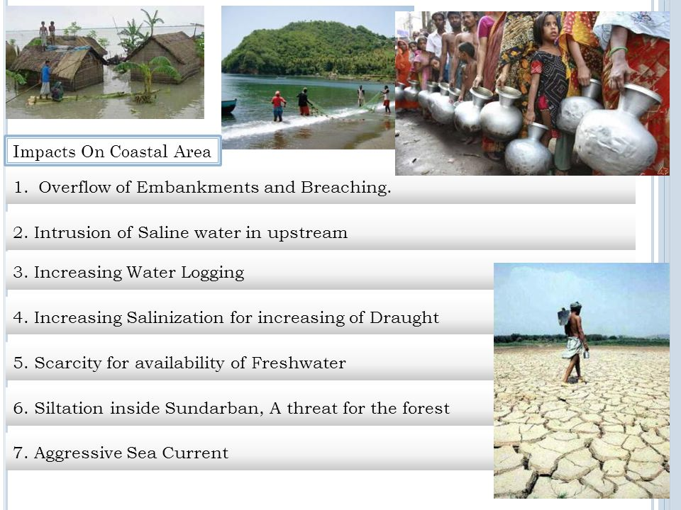 Impacts On Coastal Area 4. Increasing Salinization for increasing of Draught 5.