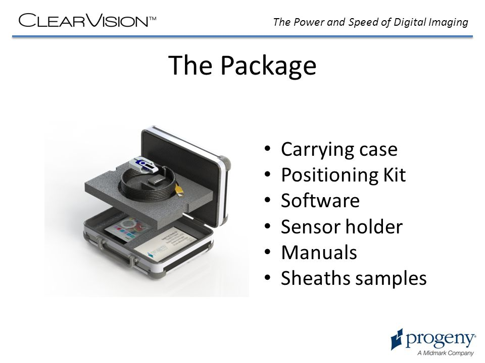 The Package Carrying case Positioning Kit Software Sensor holder Manuals Sheaths samples