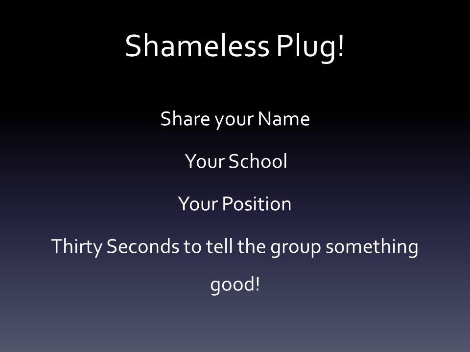 Shameless Plug.