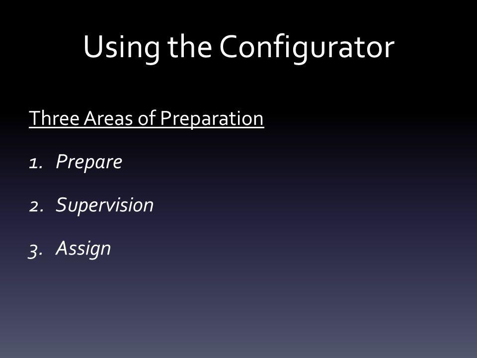 Using the Configurator Three Areas of Preparation 1.Prepare 2.Supervision 3.Assign