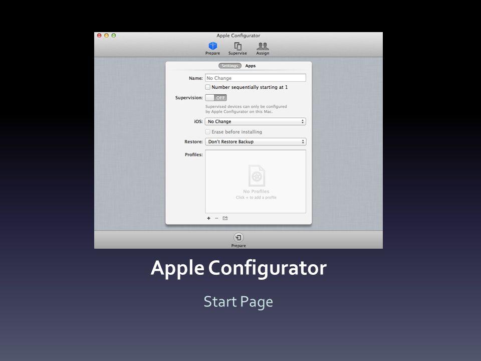 Apple Configurator Start Page