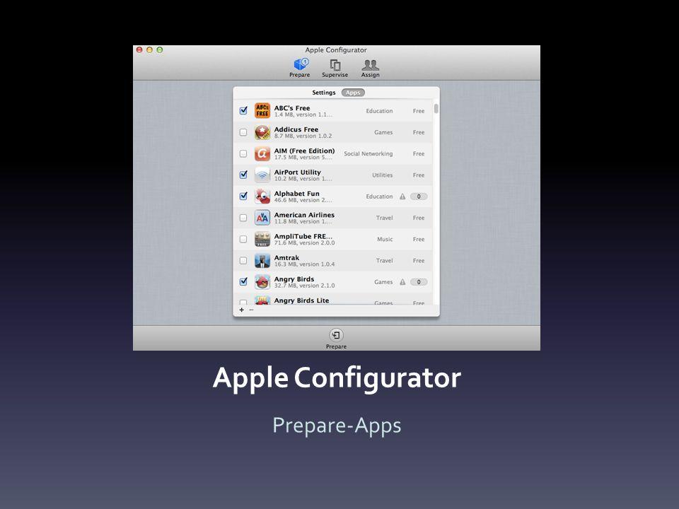 Apple Configurator Prepare-Apps
