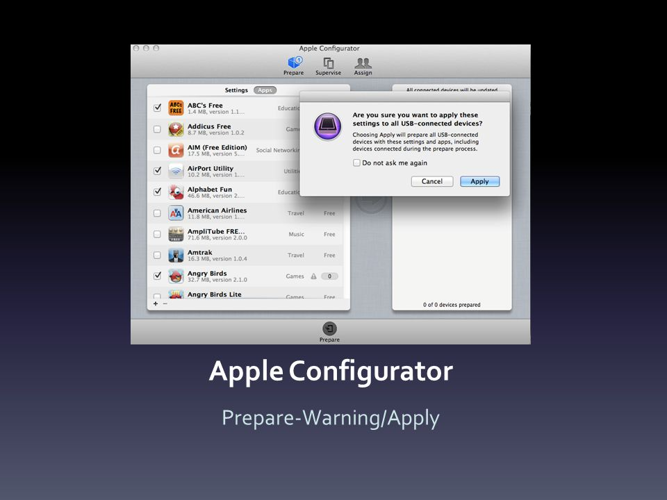 Apple Configurator Prepare-Warning/Apply