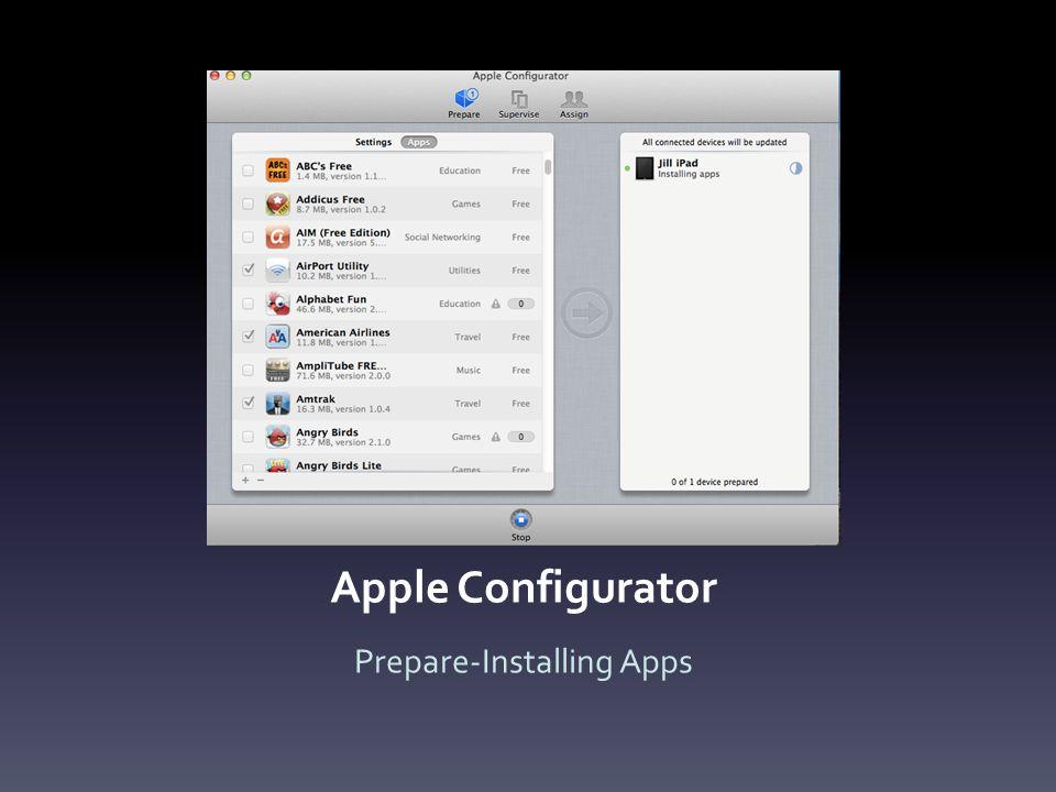 Apple Configurator Prepare-Installing Apps