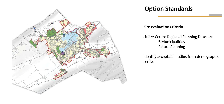Option Standards Site Evaluation Criteria Utilize Centre Regional Planning Resources 6 Municipalities Future Planning Identify acceptable radius from demographic center