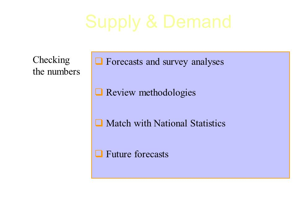  Forecasts and survey analyses  Review methodologies  Match with National Statistics  Future forecasts Checking the numbers Supply & Demand