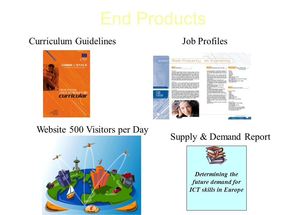 End Products Determining the future demand for ICT skills in Europe Curriculum GuidelinesJob Profiles Supply & Demand Report Website 500 Visitors per Day