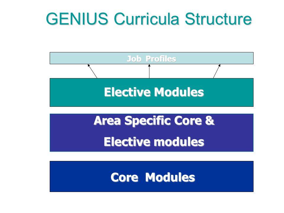 Core Modules Area Specific Core & Elective modules Elective Modules Job Profiles GENIUS Curricula Structure