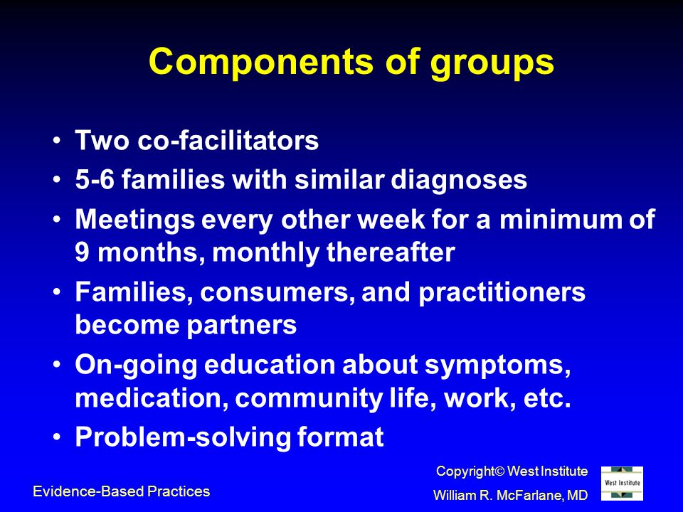 Components of groups Two co-facilitators 5-6 families with similar diagnoses Meetings every other week for a minimum of 9 months, monthly thereafter Families, consumers, and practitioners become partners On-going education about symptoms, medication, community life, work, etc.