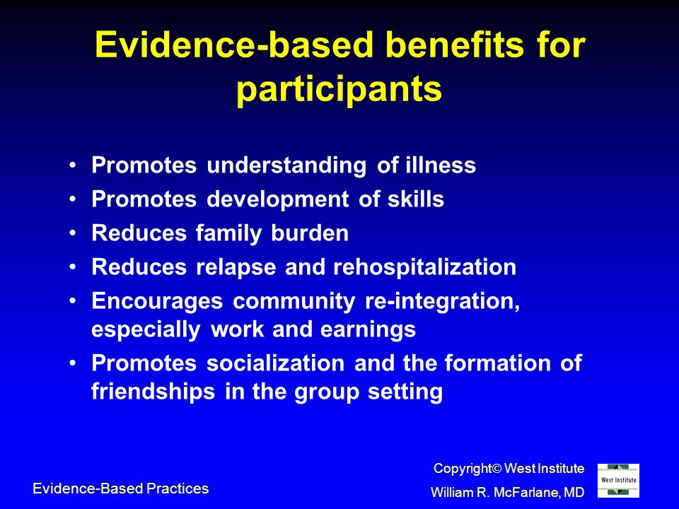 Evidence-based benefits for participants Promotes understanding of illness Promotes development of skills Reduces family burden Reduces relapse and rehospitalization Encourages community re-integration, especially work and earnings Promotes socialization and the formation of friendships in the group setting Evidence-Based Practices Copyright  West Institute William R.