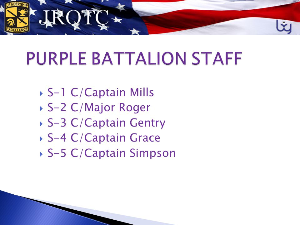 RECRUITING  S-5 ORGANIZES AND PLANS JROTC ACTIVITIES  CONTINUATION OF LEADERSHIP  CADETS AT ALL LEVELS GO TO THE JR.