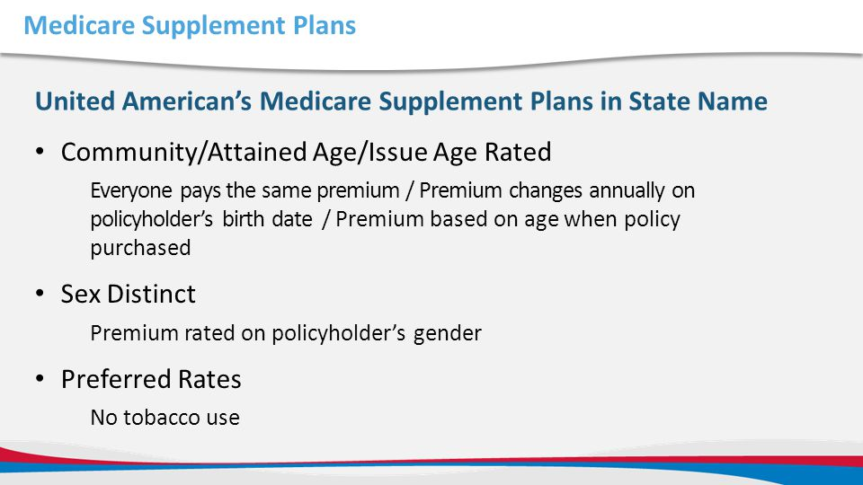 Medicare Supplement Plans Community/Attained Age/Issue Age Rated Everyone pays the same premium / Premium changes annually on policyholder's birth dat