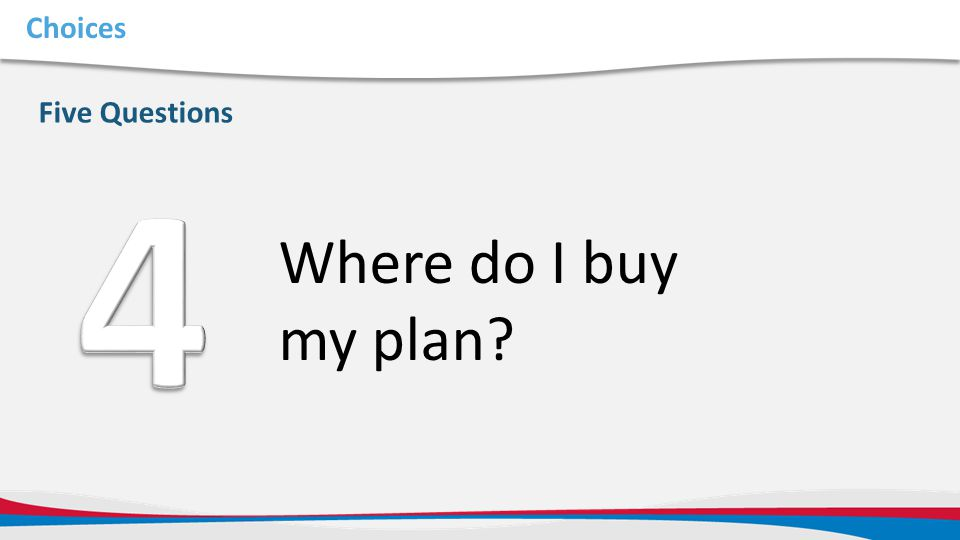 Choices Five Questions Where do I buy my plan?