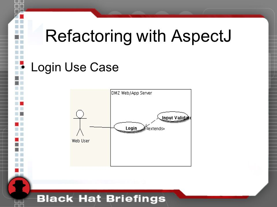 Refactoring with AspectJ Login Use Case