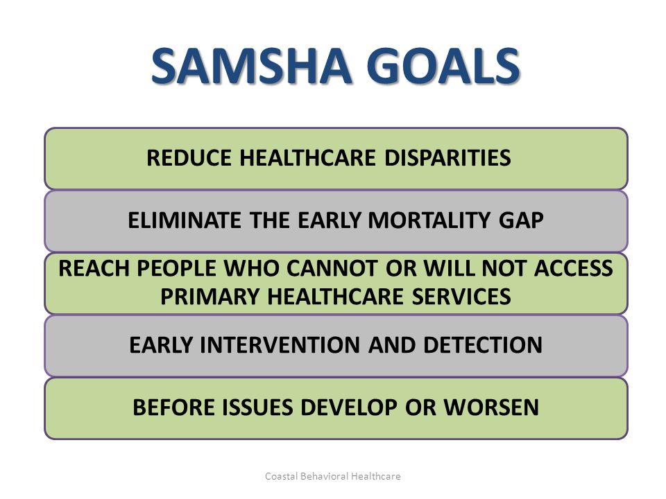 SAMSHA GOALS REDUCE HEALTHCARE DISPARITIES ELIMINATE THE EARLY MORTALITY GAP REACH PEOPLE WHO CANNOT OR WILL NOT ACCESS PRIMARY HEALTHCARE SERVICES EA
