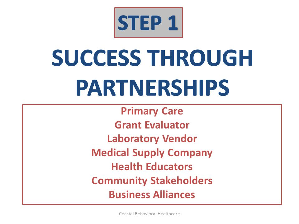 Primary Care Grant Evaluator Laboratory Vendor Medical Supply Company Health Educators Community Stakeholders Business Alliances Coastal Behavioral He