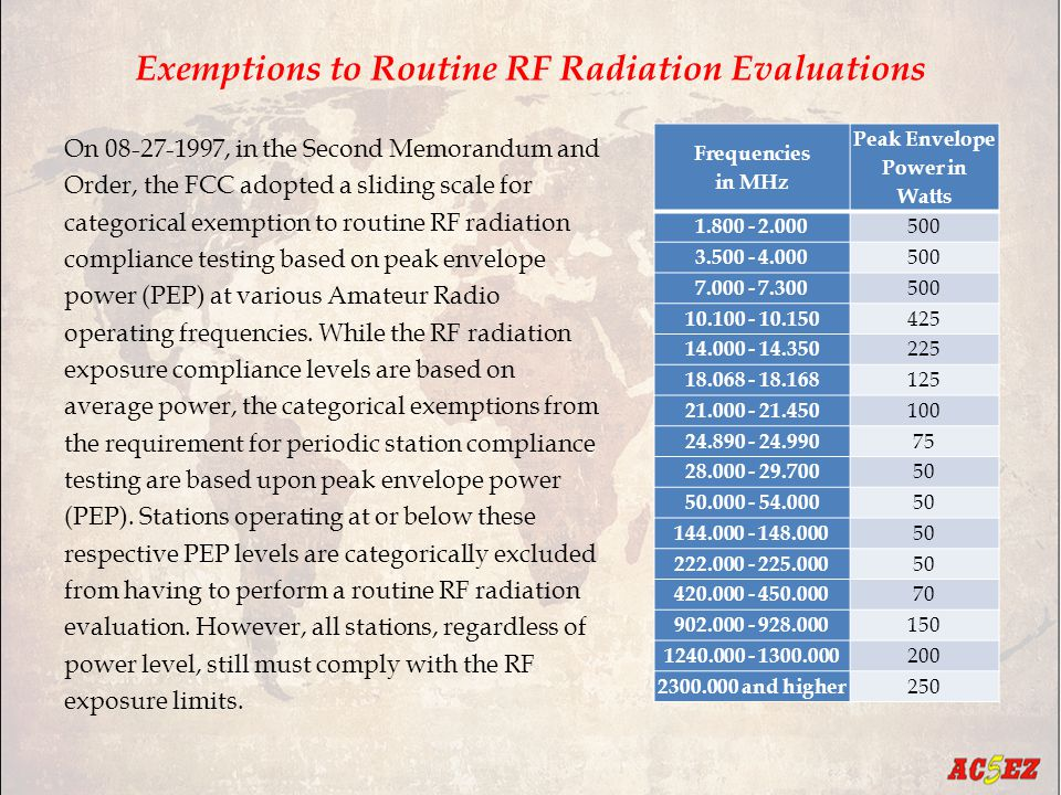 Exemptions to Routine RF Radiation Evaluations On 08-27-1997, in the Second Memorandum and Order, the FCC adopted a sliding scale for categorical exemption to routine RF radiation compliance testing based on peak envelope power (PEP) at various Amateur Radio operating frequencies.