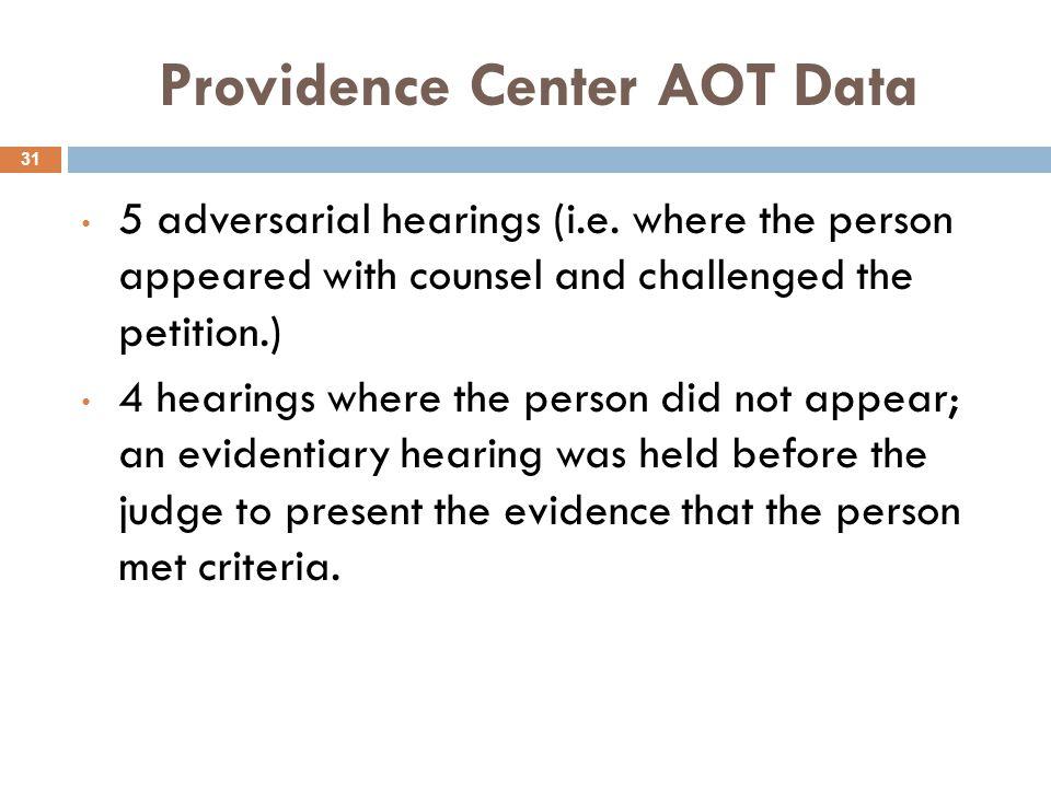 Providence Center AOT Data 31 5 adversarial hearings (i.e.