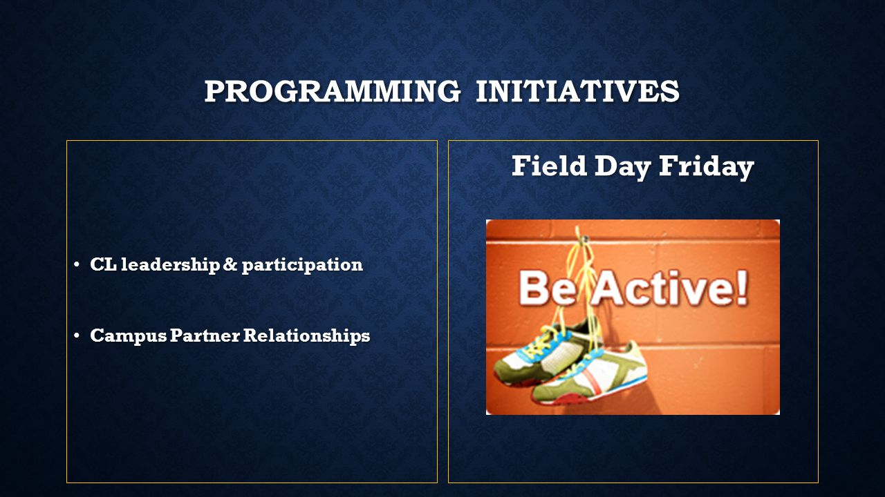 PROGRAMMING INITIATIVES CL leadership & participation CL leadership & participation Campus Partner Relationships Campus Partner Relationships Field Da