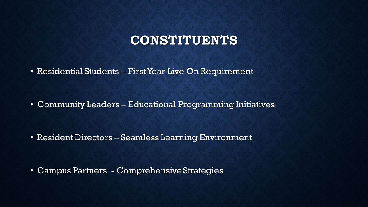 CONSTITUENTS Residential Students – First Year Live On Requirement Residential Students – First Year Live On Requirement Community Leaders – Education