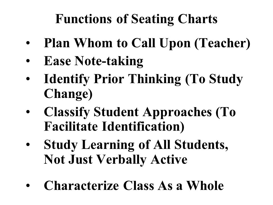 Functions of Seating Charts Plan Whom to Call Upon (Teacher) Ease Note-taking Identify Prior Thinking (To Study Change) Classify Student Approaches (T